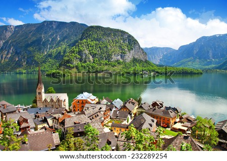 Hallstatt  - pretty austrian village on lake - stock photo