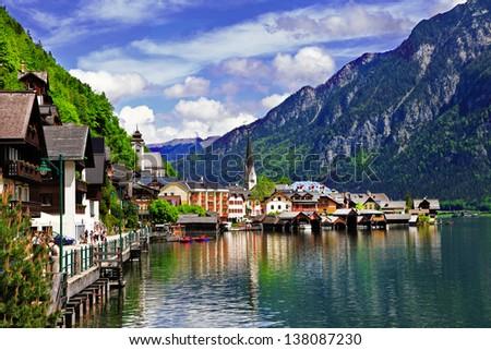 Hallstatt - small scenic village in Alps, Austria - stock photo