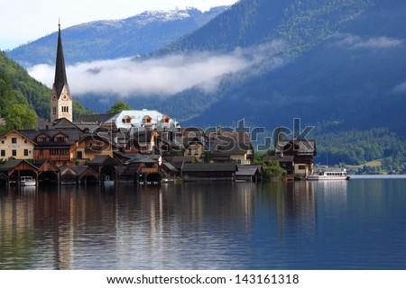 Hallstatt, the most beautiful lake town in the world, Austria. - stock photo