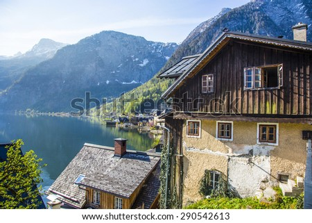 Hallstatt town with traditional wooden houses, Austria, Europe