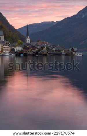 Hallstatt village in Alps - stock photo