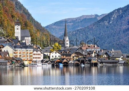 Hallstatt village in Alps , Austria - stock photo