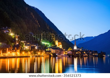 Hallstatt village in Austria, Austria. Hallstatt is historical village located in Austrian Alps at the Hallstatter lake and promoted by UNESCO World Heritage region.