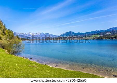 Hallstatter lake in the Alps of Austria under blue sky - stock photo