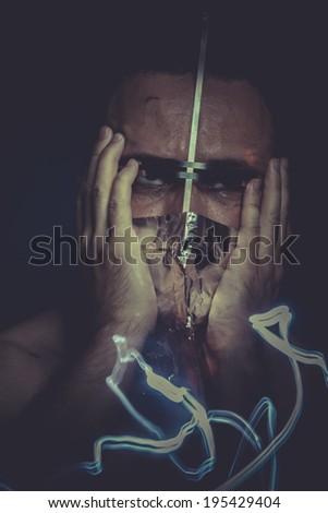 hallucination, concept of mental disorder, schizophrenia and depression - stock photo