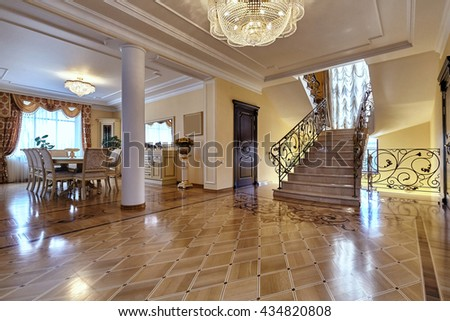 hallway and living room with a beautiful interior - stock photo