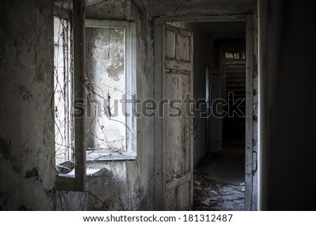 Hallway and window in abandoned house