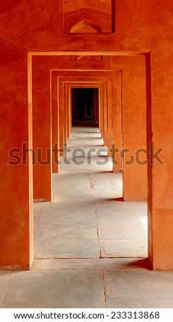 Hallway at the Taj Mahal in India - stock photo