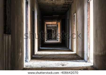 hallway in abandoned building, ghost living place, horror darkness halloween background - stock photo