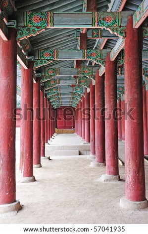 hallway in the korean ancient palace