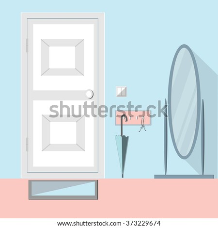 Hallway Modern Interior with mirror, door, keys, umbrella. Hallway interior with furniture.  Interior of room. Hall inside the house. Flat Raster version, vector file is also in portfolio. - stock photo