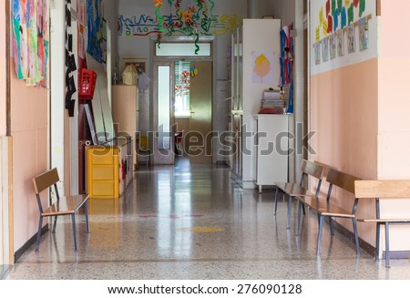 hallway of a nursery preschool for children - stock photo