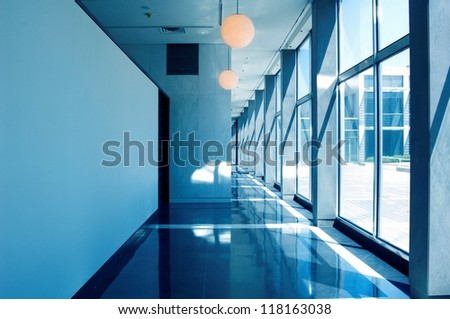 Hallway of an office building - stock photo