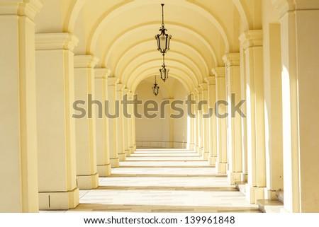 Hallway with arcades, Vienna, Austria - stock photo