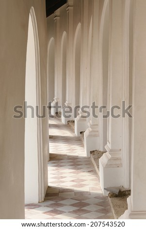 Hallway with columns surrounding the Commerce Square - stock photo