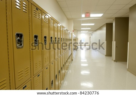 Hallway with Lockers at High School. - stock photo