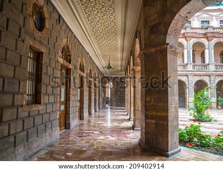 Hallways of a public building in downtown Cuenca, Ecuador - stock photo