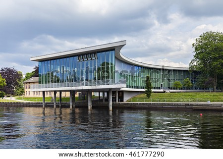 HALMSTAD, SWEDEN - MAY 29, 2016. Public art exhebition hall by the river Nissan.