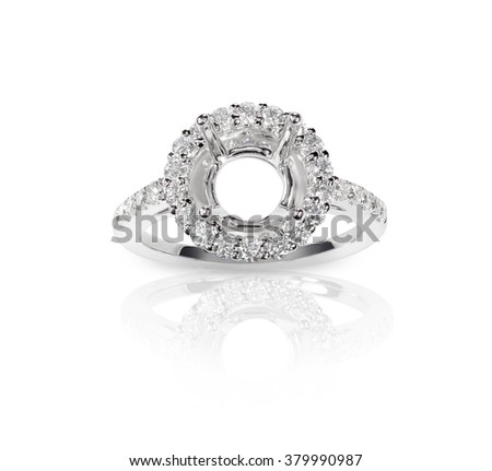Halo DIamond Engagment Wedding Ring Setting top view with no stone set. Isolated on white background