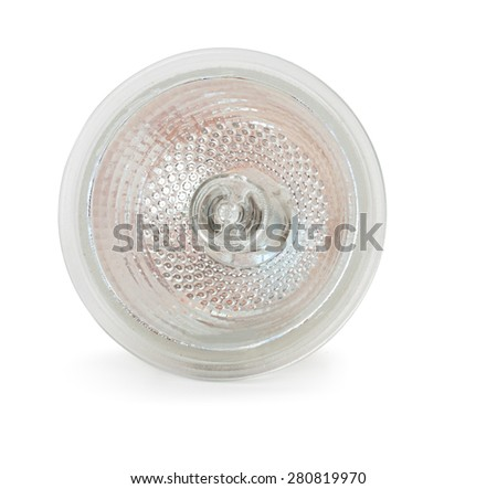 Halogen lamp isolated on white. Front view. - stock photo