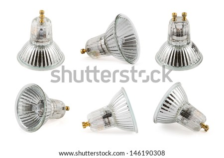 Halogen lamp isolated over white background, set of six foreshortenings - stock photo