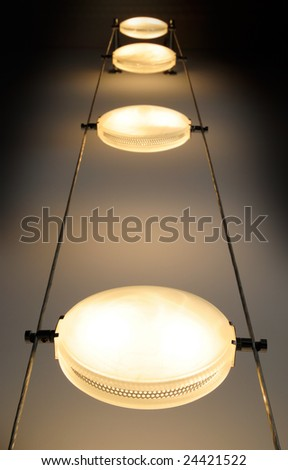 Halogen lamps, hanging on the wire