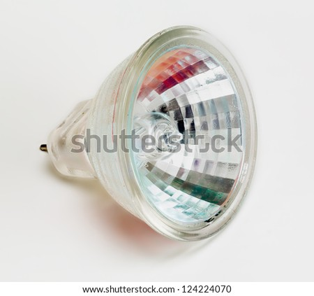 Halogen MR11 Reflector Light bulb and taken from above and isolated against white