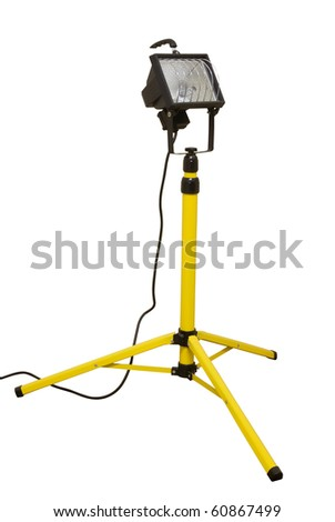 Halogen work lights on yellow tripod isolated on white