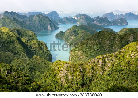 Halong bay archipelago top view from Cat Ba island, Vietnam - stock photo