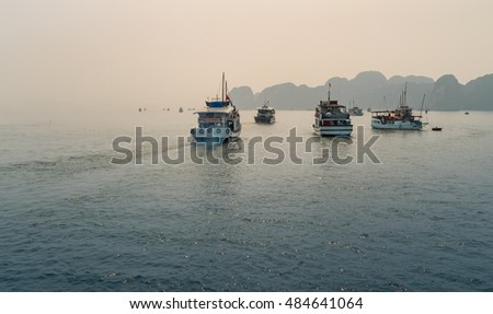Halong Bay, Vietnam - 16 April 2016 - Halong Bay foggy Morning