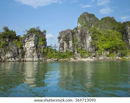 HALONG BAY, VIETNAM. JUNE 12, 2010. A view of sea & mountain rock in halong bay, vietnam.
