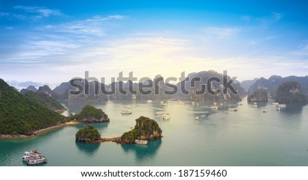 Halong Bay Vietnam panoramic sea view. Famous Asian travel destination. Ha Long bay touristic landmark of southeast    - stock photo