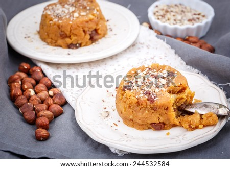 halva sweet ,Indian sweets in plate - stock photo