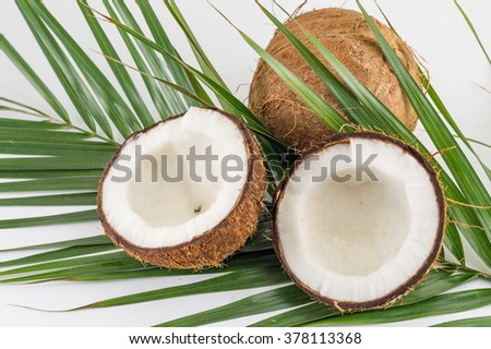 Halved and whole fresh coconuts with coconut leaves - stock photo