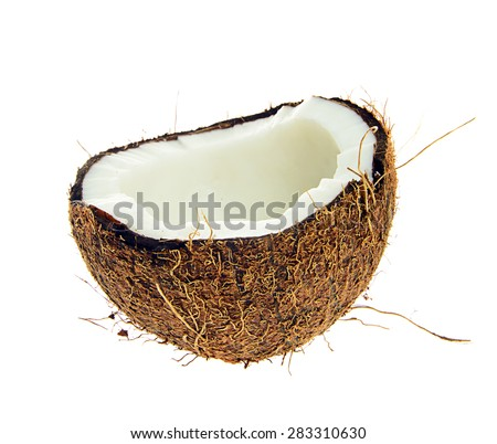 Halved coconut isolated on a white background - stock photo