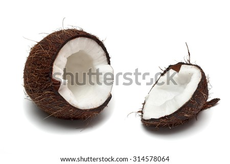 halved fresh coconut isolated on a white background