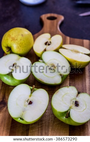Halves of green apples