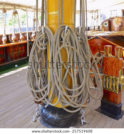 Halyards on the main mast of tallship in Buenos Aires - stock photo