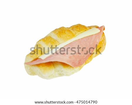 Ham and cheese croissant isolated on white background (with clipping path)