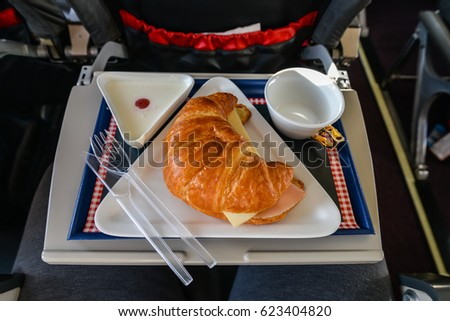 Ham and Cheese Croissant on the plane,Breakfast on airplane