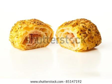 ham and cheese pastry - stock photo