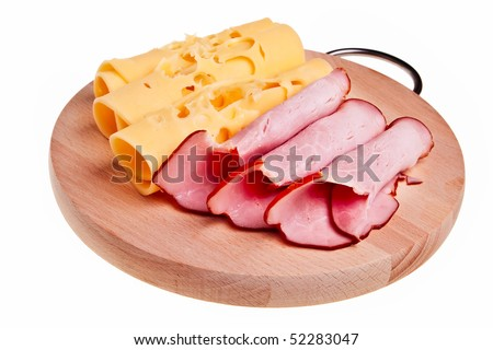 Ham and cheese rolls on wooden desk isolated over white background. - stock photo