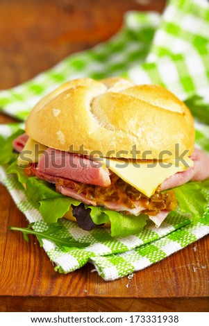 Ham and cheese salad sandwich