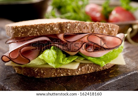 Ham and cheese sandwich. - stock photo
