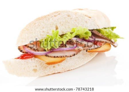 Ham and cheese sandwich with fresh vegetable isolated on white background.