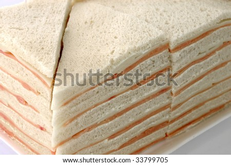 Ham and cheese white bread Sandwich