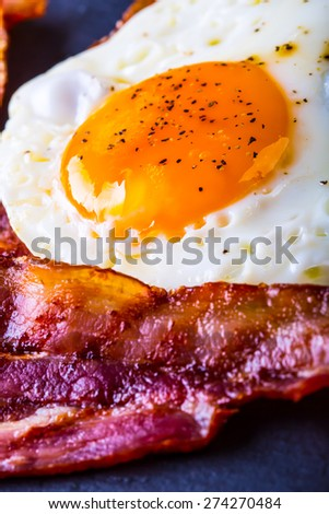 Ham and Egg. Bacon and Egg. Salted egg and sprinkled with black pepper. English breakfast.  - stock photo