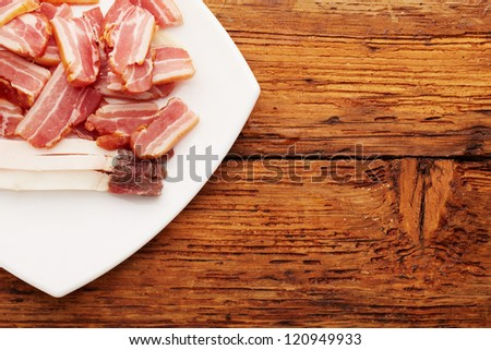 Ham and meat on plate