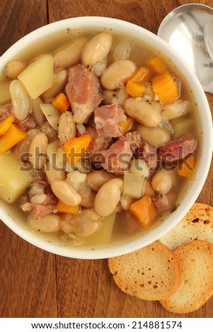 Ham and white bean soup slowly simmered with leftovers from that holiday meal
