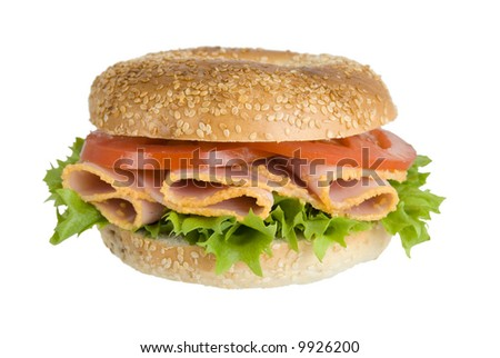Ham bagel with lettuce and tomato